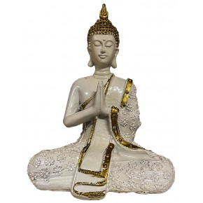 Statue Bouddha résine blanc...