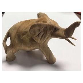Eléphant en bois naturel -...