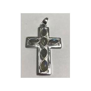 Croix argent et labradorite